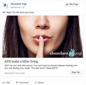 Abundant Yogi Facebook Ad | Shhh